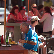 Diners on outside cafe seats in Trafalgar Street, Nelson, New Zealand, 1st February 2011, Photo Tim Clayton.