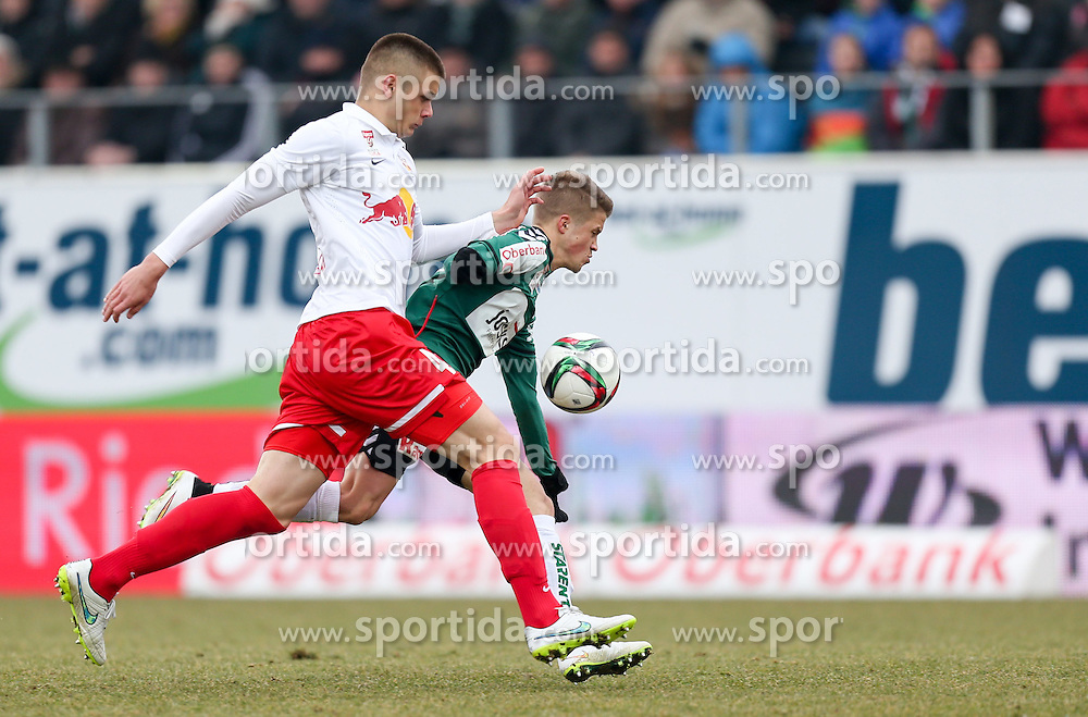 22.02.2015, Keine Sorgen Arena, Ried, AUT, 1. FBL, SV Josko Ried vs FC Red Bull Salzburg, 21. Runde, im Bild v.l. Duje Caleta-Car (Red Bull Salzburg), Patrick Möschl (SV Ried) // during Austrian Football Bundesliga Match, 21st round, between FC Red Bull Salzburg and SK Rapid Wien at the Keine Sorgen Arena in Ried, Austria on 2015/02/22. EXPA Pictures © 2015, PhotoCredit: EXPA/ Roland Hackl