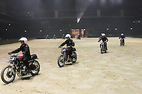 The Royal Signals White Helmets, British Military Tournament Dress Rehearsal, Earls Court, London UK, 06 December 2013, Photo by Richard Goldschmidt