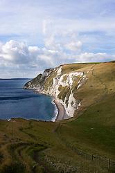 Coastal path heading towards White Nothe on the Jurassic Coast, Dorset, England, UK.