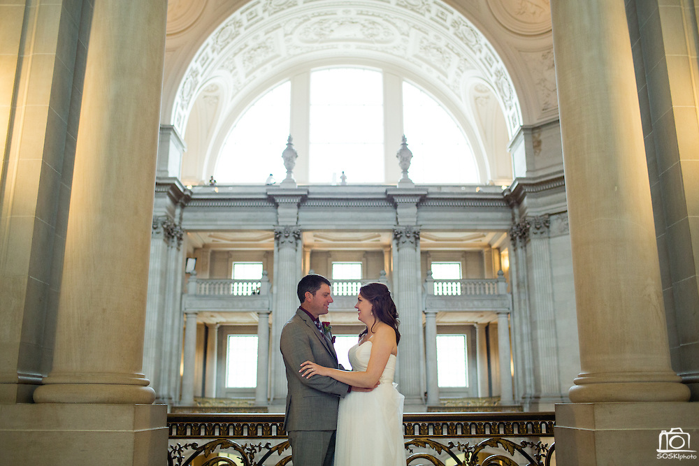 Bride and groom celebrate their wedding with friends and family at San Francisco City Hall in San Francisco, California, on March 10, 2016. (Stan Olszewski/SOSKIphoto)