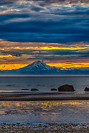 Mt. Redoubt and Cook Inlet at sunset from Clam Gulch, summer, evening