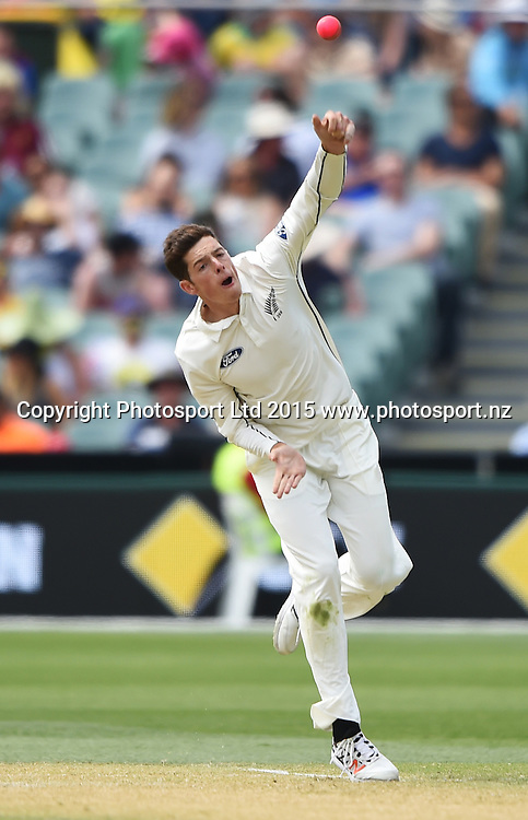 Mitchell Santner bowling during day 2 of the 3rd cricket test match between New Zealand Black Caps and Australia. Saturday 28 November 2015. Copyright photo: Andrew Cornaga / www.photosport.nz