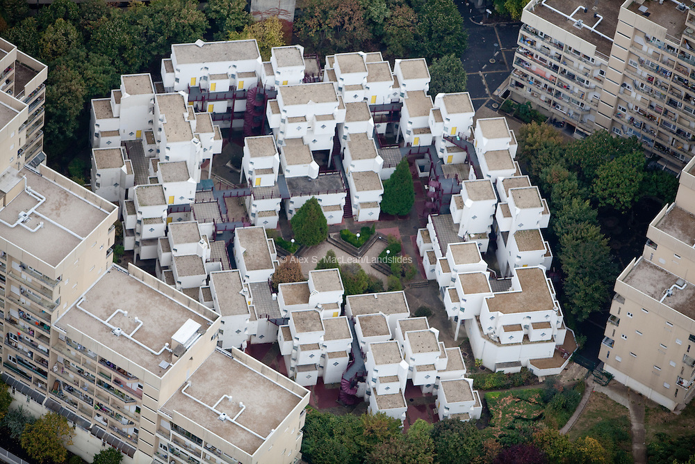 Housing in Puteaux ( a commune in the Western suburbs of Paris, France) north of the Grand Arche.