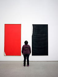 Woman looking at paintings Edles Eck and Ubermalung Blauschwarz by Arnulf Rainer at Pinakothek Moderne art museum in Munich Germany