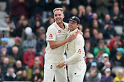 Wicket - Stuart Broad of England celebrates taking the wicket of Marcus Harris of Australia during the International Test Match 2019, fourth test, day one match between England and Australia at Old Trafford, Manchester, England on 4 September 2019.