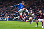 James Tavernier (C) of Rangers FC dramatically collects the ball mid air during the Betfred Scottish League Cup semi-final match between Rangers and Heart of Midlothian at Hampden Park, Glasgow, United Kingdom on 3 November 2019.