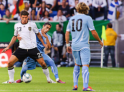 29.05.2011, Rhein-Neckar-Arena, Sinsheim, GER, LS FSP, Deutschland (GER) vs Uruguay (UY), im Bild Mario Gomez of Germany and Martin Caceres of Uruguay battle for the ball during the Football Friendly Ship betweem Germany and Uruguay  for the Rhein-Neckar-Arena in Sinsheim, Germany, 2011/05/29, EXPA Pictures © 2011, PhotoCredit: EXPA/ nph/  Roth       ****** out of GER / SWE / CRO  / BEL ******