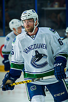 PENTICTON, CANADA - SEPTEMBER 8: Aaron Berisha #65 of Vancouver Canucks warms up against the Winnipeg Jets on September 8, 2017 at the South Okanagan Event Centre in Penticton, British Columbia, Canada.  (Photo by Marissa Baecker/Shoot the Breeze)  *** Local Caption ***