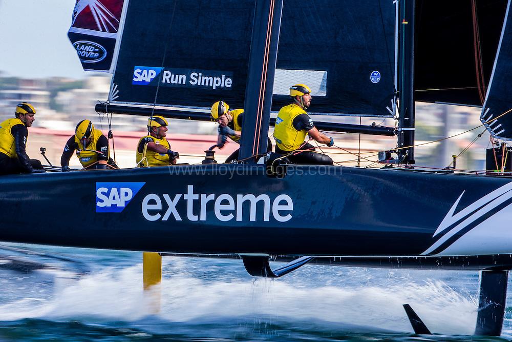 The Extreme Sailing Series 2016. SAP Extreme Sailing Team:Jes Gram-Hansen , Rasmus Køstner , Mads Emil Stephensen, Pierluigi De Felice, Renato Conde .Act 8.Sydney,Australia. 8th-11th December 2016. Credit - Jesus Renedo/Lloyd Images