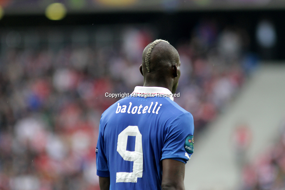 14.06.2012. Poznan, Poland.  EURO 2012, FOOTBALL EUROPEAN CHAMPIONSHIP, Italy versus Croatia. MARIO BALOTELLI (ITA) The game ended in a 1-1- draw.