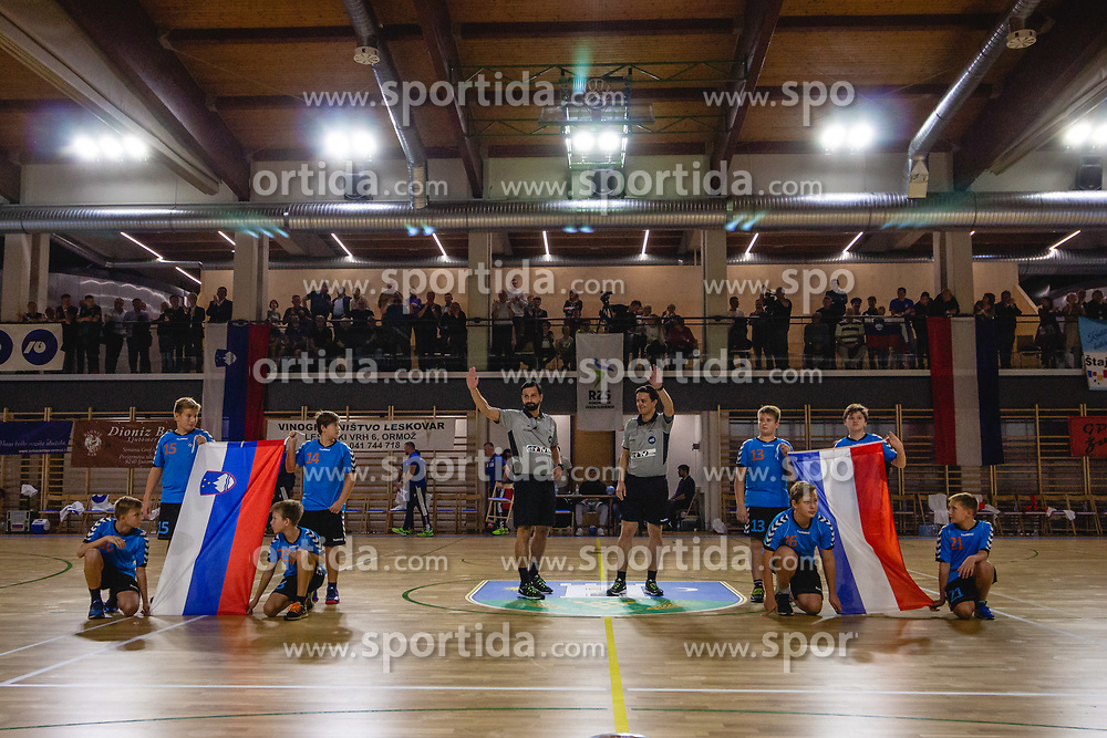 Referees and flab boys befor friendly handball match between Slovenia and Nederland, on October 25, 2019 in Športna dvorana Hardek, Ormož, Slovenia. Photo by Blaž Weindorfer / Sportida