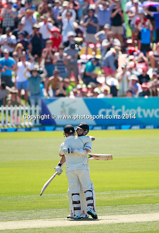 Brendon McCullum of the Black Caps and Kane Williamson embrace after Brendon McCullum passed 100 runs batting on Day 1 of the boxing Day Cricket Test Match  the Black Caps v Sri Lanka at Hagley Oval, Christchurch. 26 December 2014 Photo: Joseph Johnson / www.photosport.co.nz