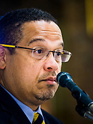 "18 APRIL 2017 - MINNEAPOLIS, MN: Rep. KEITH ELLISON, D-MN 5th District, hosts a ""Town Hall"" style community meeting related to immigration at Incarnation Catholic Church in Minneapolis, MN. About 200 people attended the meeting.     PHOTO BY JACK KURTZ"