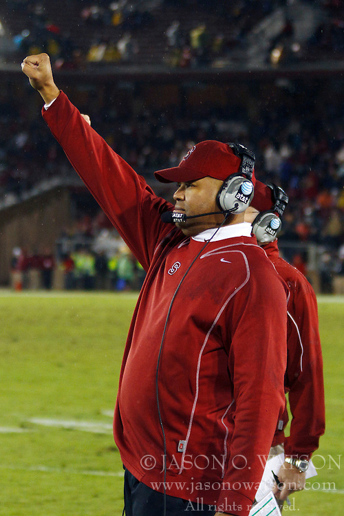 Nov 19, 2011; Stanford CA, USA;  Stanford Cardinal head coach David Shaw on the sidelines against the California Golden Bears during the fourth quarter at Stanford Stadium.  Stanford defeated California 31-28. Mandatory Credit: Jason O. Watson-US PRESSWIRE
