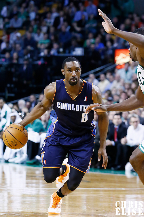 14 January 2013: Charlotte Bobcats shooting guard Ben Gordon (8) dribbles during the Boston Celtics 100-89 victory over the Charlotte Bobcats at the TD Garden, Boston, Massachusetts, USA.