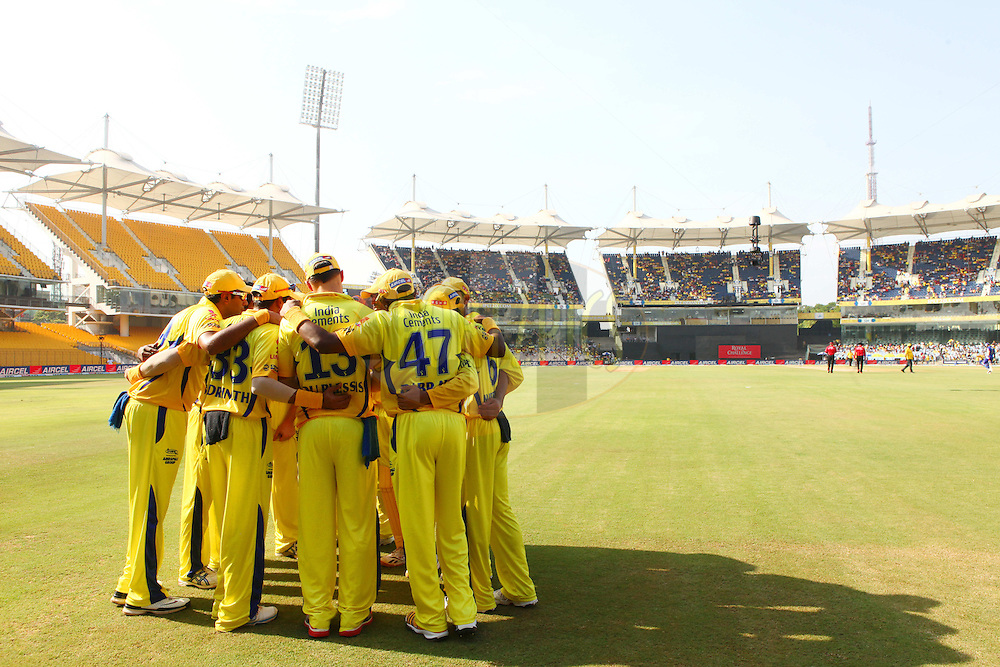 Superkings team huddle prior to match 26 of the the Indian Premier League ( IPL) 2012  between The Chennai Superkings and the Rajasthan Royals held at the M. A. Chidambaram Stadium, Chennai on the 21st April 2012..Photo by Ron Gaunt/IPL/SPORTZPICS
