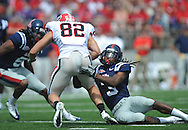 Georgia split end Michael Bennett (82) is tackled by Ole Miss' Charles Sawyer (3) at Vaught-Hemingway Stadium in Oxford, Miss. on Saturday, September 24, 2011. Georgia won 27-13.