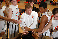4 FEB. 2010 -- WEBSTER GROVES, Mo. -- Webster Groves coach jay Blossom ends a timeout during the game Thursday, Feb. 4, 2010 between Webster Groves and Parkway West at Webster Groves High School. Photo (c) copyright by Sid Hastings.