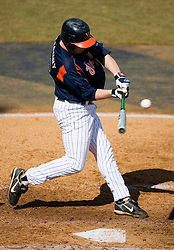 Virginia Cavaliers catcher Beau Seabury (16)makes contact against Delaware.  The Virginia Cavaliers Baseball Team defeated the Delaware Blue Hens 3-2 to complete the sweep of a three game series at Davenport Field in Charlottesville, VA on March 4, 2007.