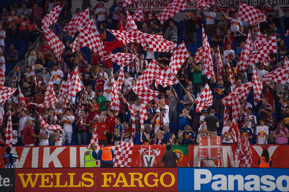 HARRISON, NJ - AUGUST 17:  A general view fans of the New York Red Bulls cheering during the game against the Philadelphia Union at Red Bulls Arena on August 17, 2013. (Photo By: Rob Tringali)