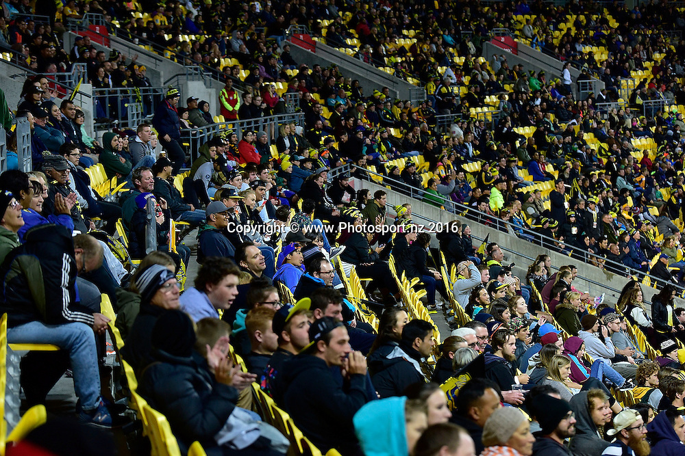 Hurricanes fans during the Hurricanes vs Kings Super Rugby  match at the Westpac Stadium in Wellington on Friday the 25th of March 2016. Copyright Photo by Marty Melville / www.Photosport.nz