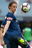Melbourne Victory midfielder Joshua Hope (16) warms up at the Hyundai A-League Round 6 soccer match between Melbourne Victory and Western Sydney Wanderers at Marvel Stadium in Melbourne.