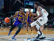 Vanderbilt Commodores forward Ejike Obinna (50) guards LSU Tigers forward Emmitt Williams (5) during an NCAA game between the Louisiana State University Tigers and Vanderbilt Commodores at Memorial Gymnasium in Nashville, TN