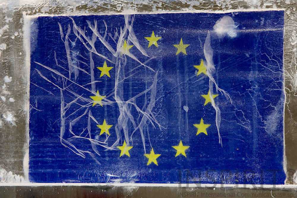 BRUSSELS - BELGIUM - 10 FEBRUARY 2009 --  The EU-flag inside an ?Ice Cube? illustrating a ?Climate Change? simulation model outside the Commission on Berlaymont Esplanade.  Photo: Erik Luntang