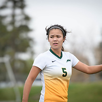 4th year defender Angela Lalonde (5) of the Regina Cougars during the Women's Soccer Homeopener on September 16 at U of R Field. Credit: Arthur Ward/Arthur Images