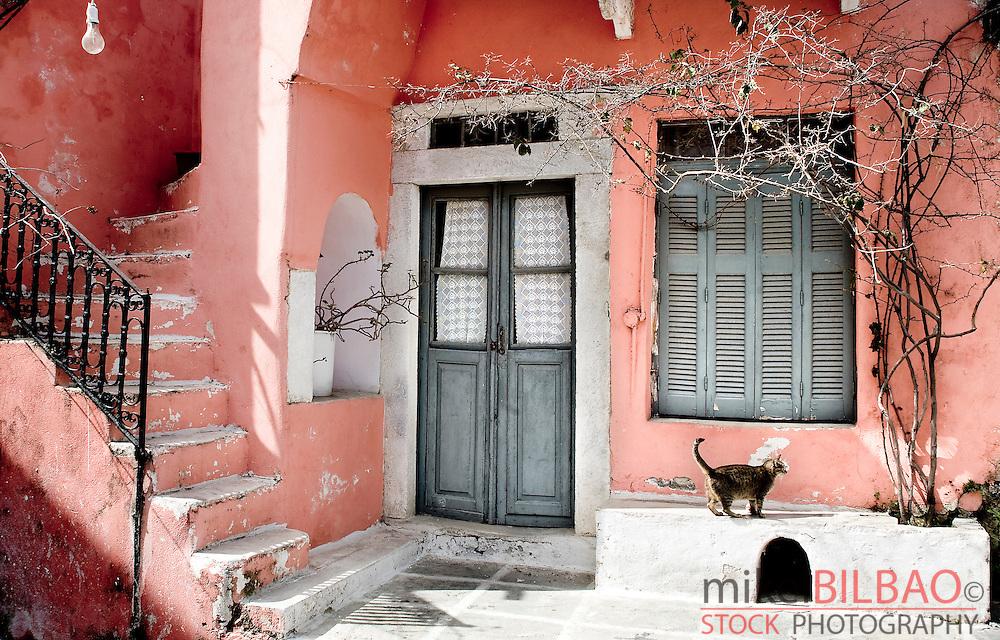 Street and house. Chalki village. Naxos island, Cyclades islands, Greece, Europe