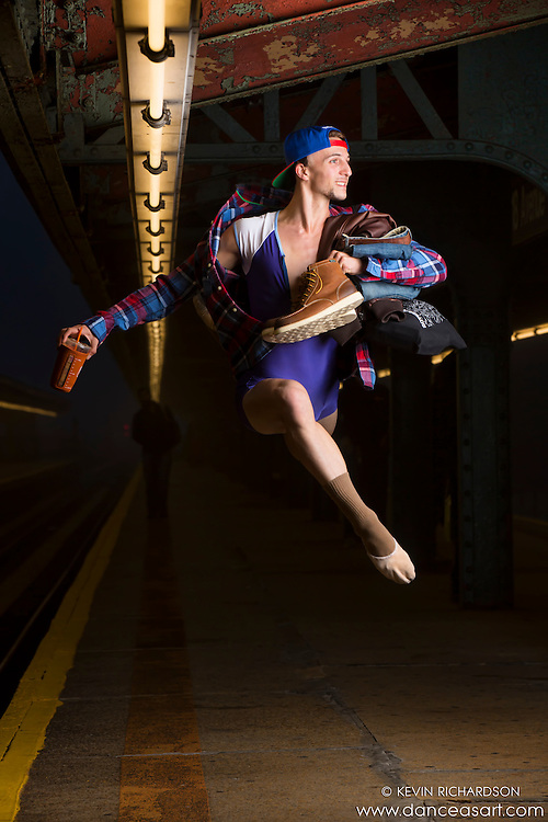 New York City Subway Dance As Art Photography featuring dancer Andy Jacobs.