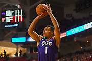 LUBBOCK, TX - MARCH 3: Desmond Bane #1 of the TCU Horned Frogs shoots the ball during the game against the Texas Tech Red Raiders on March 3, 2018 at United Supermarket Arena in Lubbock, Texas. Texas Tech defeated TCU 79-75. Texas Tech defeated TCU 79-75. (Photo by John Weast/Getty Images) *** Local Caption *** Desmond Bane