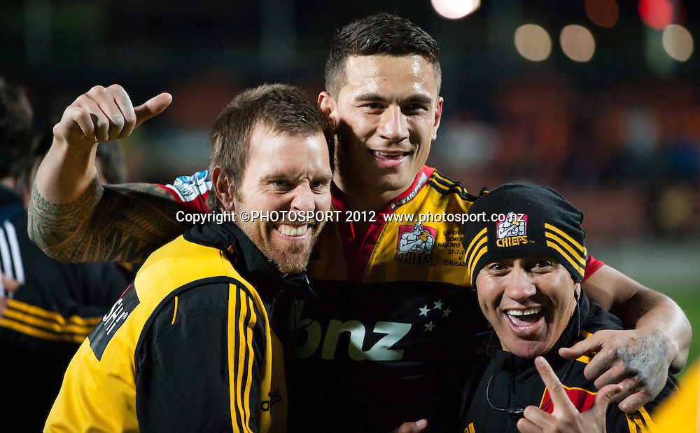 Chiefs' Sonny Bill Williams celebrates with trainers Phil...and Wally Rifle after the Super Rugby Semi Final won by the Chiefs (20-17) against the Crusaders at Waikato Stadium, Hamilton, New Zealand, Friday 27 July 2012. Photo: Stephen Barker/Photosport.co.nz