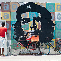 Images of Che Guevera along a street in Havana, Cuba