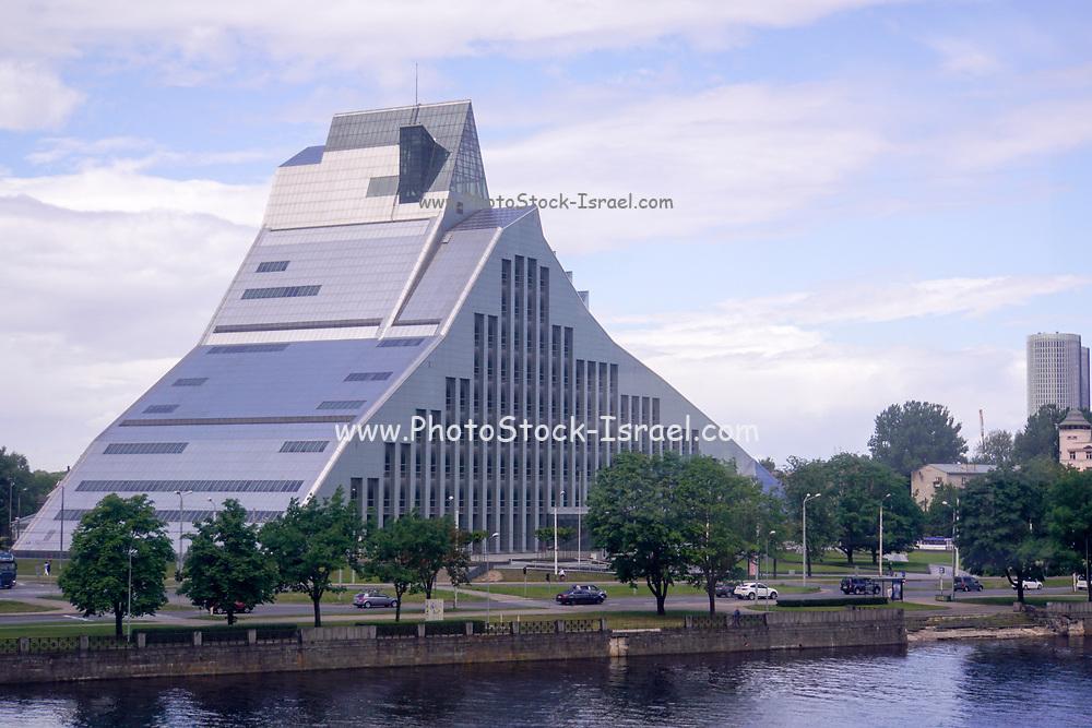 Facade of modern building in Riga, Latvia