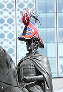 TRAFALGAR SQUARES MOST FAMOUS RESIDENT,ADMIRAL LORD NELSON GETS A NEW HAT FOR THE FIRST TIME IN 200 YEARS, AS PART OF THE VISUAL SPECTACULAR THAT IS 'HATWALK' COMMISSIONED BY THE MAYOR OF LONDON IN PARTNERSHIP WITH BT.NELSON IS ONE OF 20 WELL-KNOWN STATUES ACROSS LONDON ADORNED WITH NEWLY CREATED,BESPOKE HEADWEAR FROM TODAY.30.7.12.PIX STEVE BUTLER