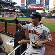 Nori Aoki, San Francisco Giants, celebrates on his return to the dugout after scoring a run during the New York Mets Vs San Francisco Giants MLB regular season baseball game at Citi Field, Queens, New York. USA. 11th June 2015. Photo Tim Clayton
