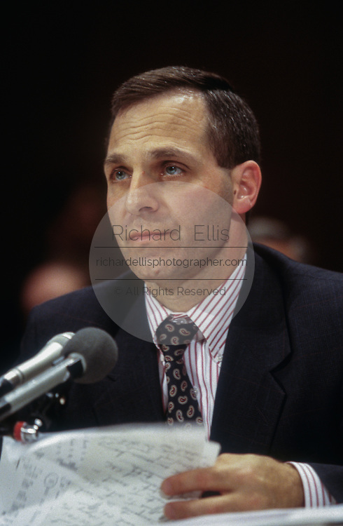 WASHINGTON, DC, USA - 1997/04/08: U.S. FBI Director Louis Freeh testifies before a Senate appropriations subcommittee on Capitol Hill April 8, 1997 in Washington, DC. Freeh said that the internet is being increasingly used by pedophiles to contact children and distribute child pornography.  (Photo by Richard Ellis)