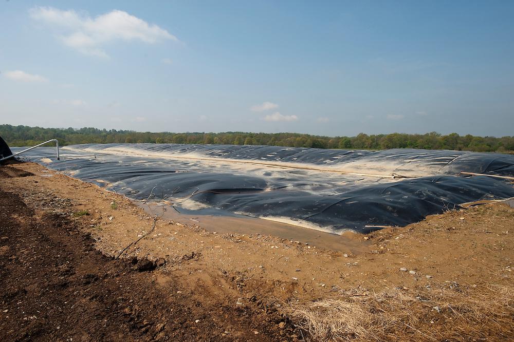 Methane digester , dairy farm manure pit