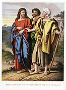 Christ appearing to the two disciples on the road to Emmaeus. Kronheim chromolithograph from illustrated Bible c1860