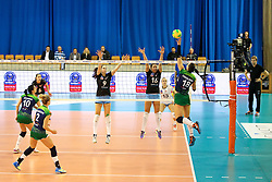 Katarzyna Zaroslinska of PGE Atom Trefl Sopot vs Elena Ucej of Calcit Ljubljana and Monika Potokar of Calcit Ljubljana during the volleyball match between Calcit Ljubljana and PGE Atom Trefl Sopot at 2016 CEV Volleyball Champions League, Women, League Round in Pool B, 1st Leg, on October 29, 2016, in Hala Tivoli, Ljubljana, Slovenia.  (Photo by Matic Klansek Velej / Sportida)