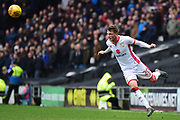 Milton Keynes midfielder (on loan from Stoke City) Josh Tymon (20) heads the ball during the EFL Sky Bet League 1 match between Milton Keynes Dons and Portsmouth at stadium:mk, Milton Keynes, England on 10 February 2018. Picture by Dennis Goodwin.