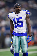 ARLINGTON, TX - OCTOBER 14:  Deonte Thompson #15 of the Dallas Cowboys warms up before a game against the Jacksonville Jaguars at AT&T Stadium on October 14, 2018 in Arlington, Texas.  The Cowboys defeated the Jaguars 40-7.  (Photo by Wesley Hitt/Getty Images) *** Local Caption *** Deonte Thompson