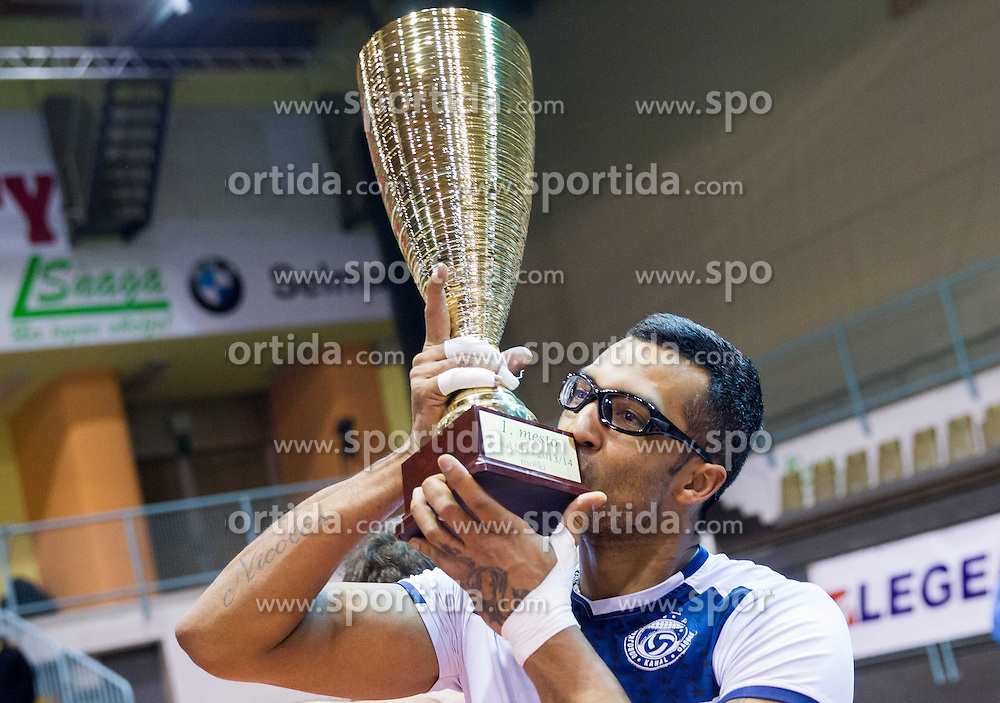 Israel Jose Dos Santos of Salonit celebrates after winning during volleyball match between OK Calcit Volleyball Kamnik and OK Salonit Anhovo in final of Slovenian Men's Cup 2013/14 on January 27, 2014 in Arena Tabor, Maribor, Slovenia. Photo by Vid Ponikvar / Sportida