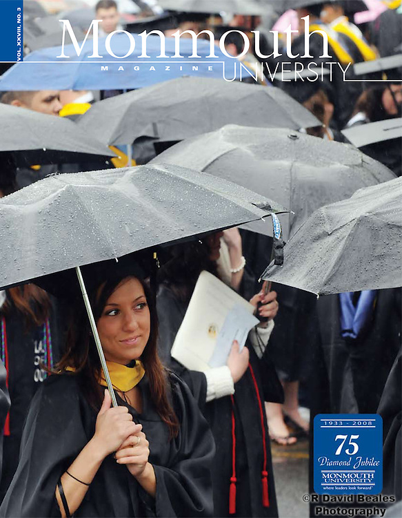 Monmouth University Magazine, Monmouth University students waiting in the rain to begin the 2008 commencement.