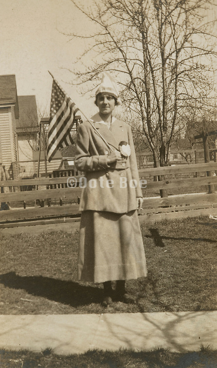 A woman ready to go to the 4th of July parade USA.