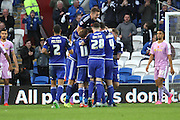 Cardiff City defender Matt Connolly celebrates with team mates after his goal during the Sky Bet Championship match between Cardiff City and Reading at the Cardiff City Stadium, Cardiff, Wales on 7 November 2015. Photo by Jemma Phillips.