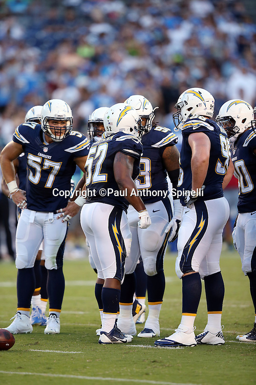 San Diego Chargers inside linebacker Denzel Perryman (52) addresses the defense during the 2015 NFL preseason football game against the Seattle Seahawks on Saturday, Aug. 29, 2015 in San Diego. The Seahawks won the game 16-15. (©Paul Anthony Spinelli)