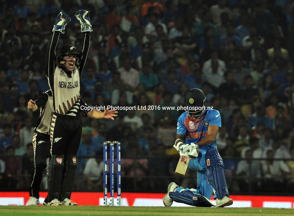 Indian player (S Dhawan lbw b McCullum 1) during during the India vs New Zealand ICC World T20 match at the Vidarbha Cricket Association (VCA) Stadium in Nagpur, India on March 15, 2016  Photo by Nitin Lawate